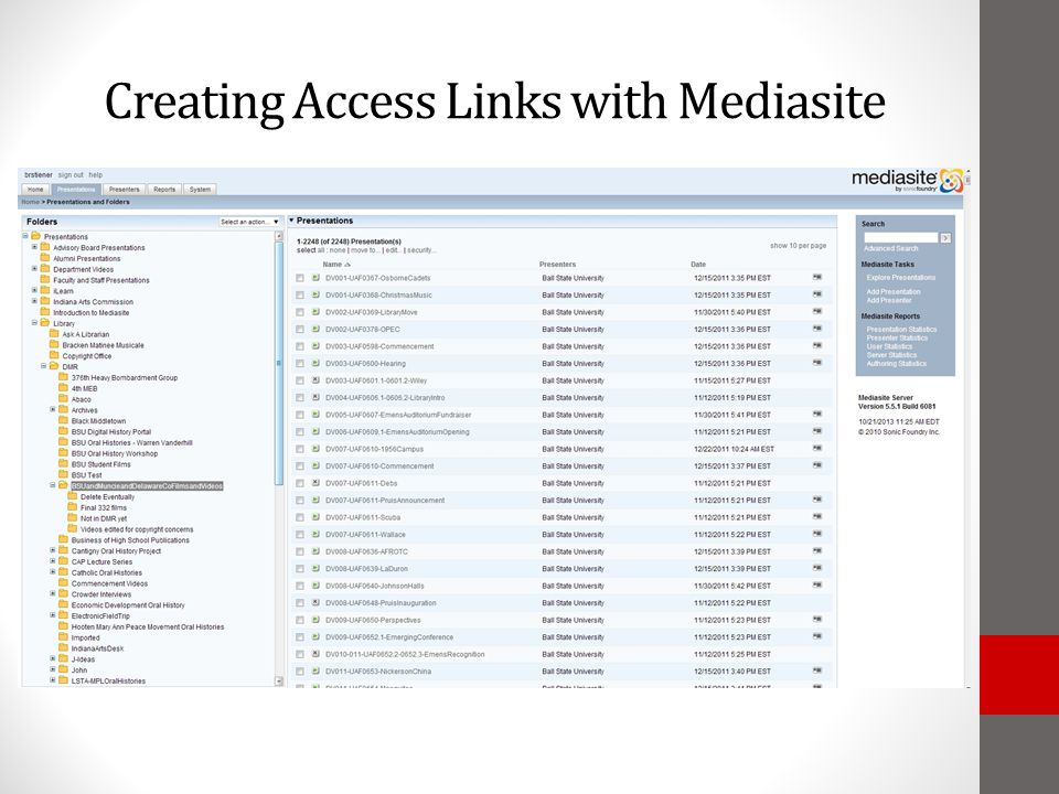 Creating Access Links with Mediasite
