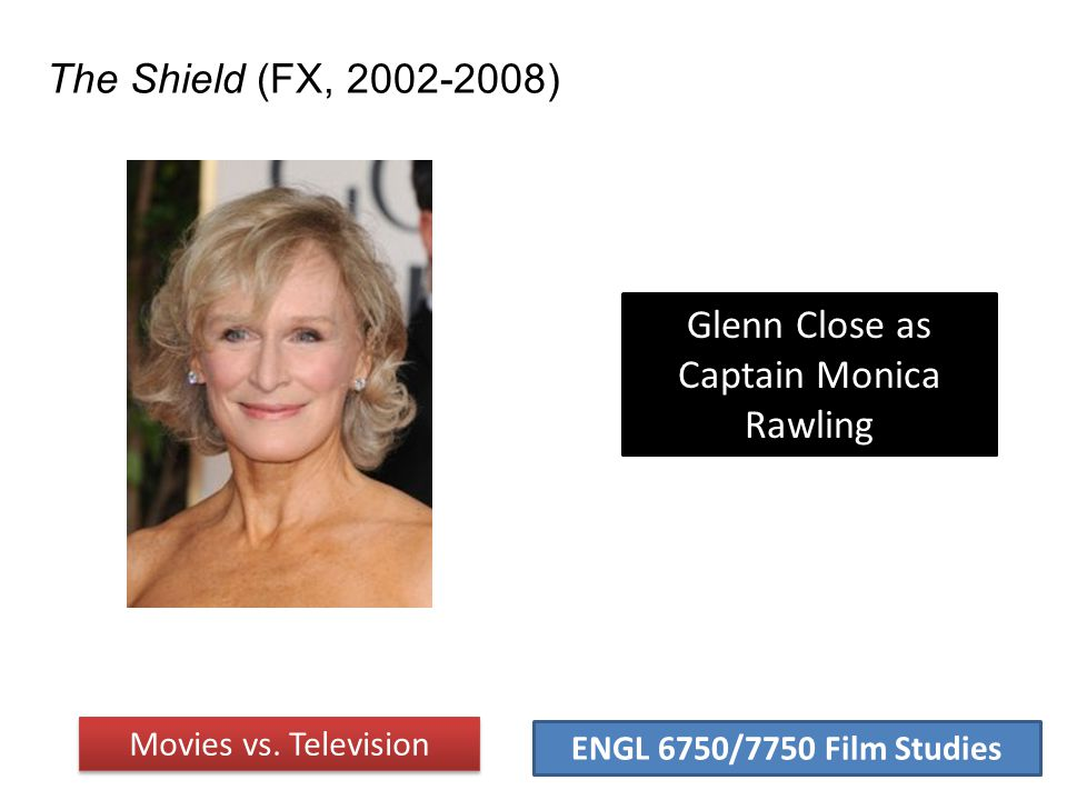 ENGL 6750/7750 Film Studies The Shield (FX, 2002-2008) Movies vs. Television Glenn Close as Captain Monica Rawling