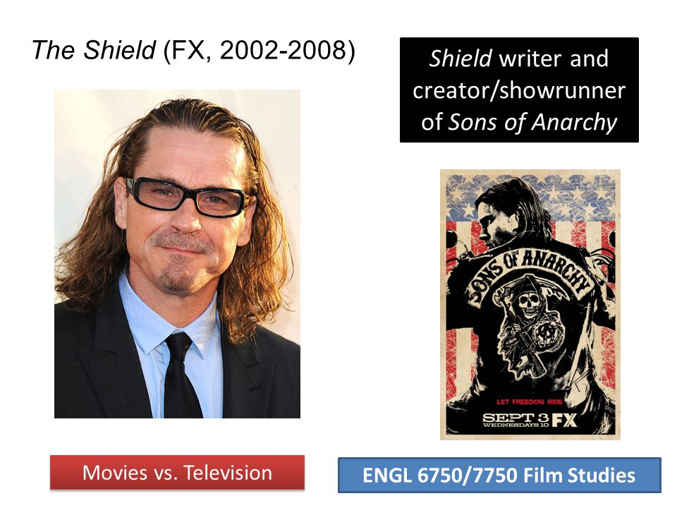 ENGL 6750/7750 Film Studies The Shield (FX, 2002-2008) Movies vs. Television Shield writer and creator/showrunner of Sons of Anarchy
