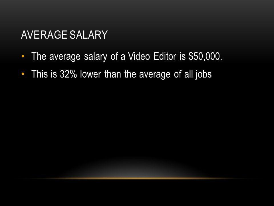 AVERAGE SALARY The average salary of a Video Editor is $50,000.
