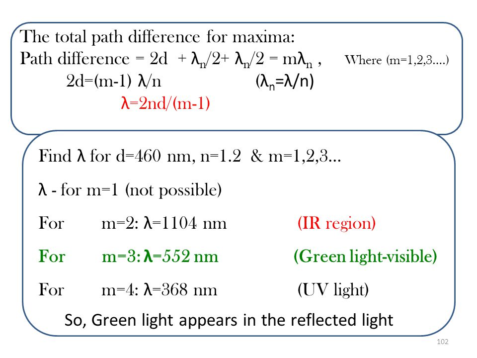 101 Solution: The reflected light from the film is brightest at the wavelength ( λ ) for which the reflected rays are in phase with one another.(const