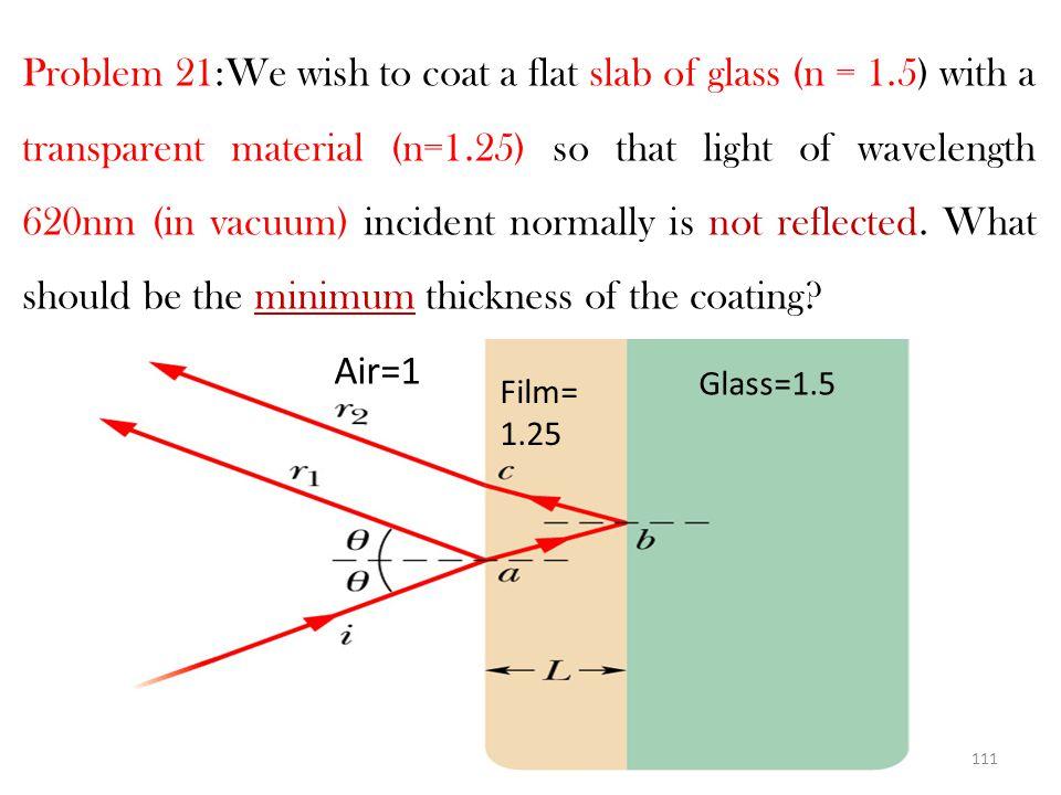 110 Constructive interference 2d + λ n /2 + λ n / 2 =m λ n Gives : 2nd=(m-1) λ 2nd=(m-1)(700nm ) ……………(1) Destructive interference 2d + λ n /2 +λ n /