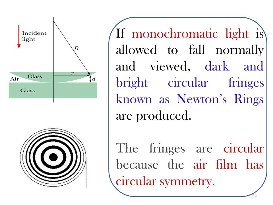 Instead of wedge shaped films, interference is possible even in curved films also. Circular interference fringes can be produced by enclosing a very t