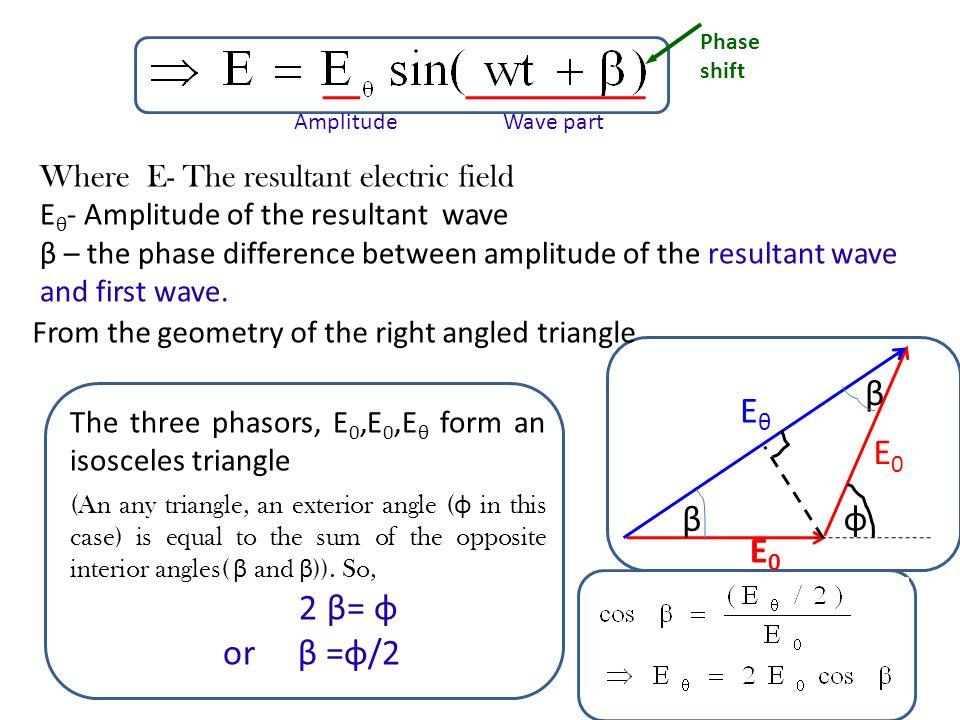 60 ωt E1E1 E2E2 E E E0E0 E0E0 A B C From the right angled triangle ABC