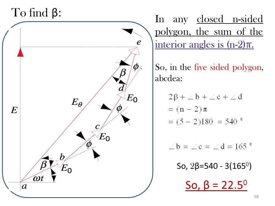 67 Problem: SP 41-2 Find graphically the resultant E(t) of the following wave disturbances. E 1 = E 0 sin t E 2 = E 0 sin ( t + 15 o ) E 3 = E 0 sin (