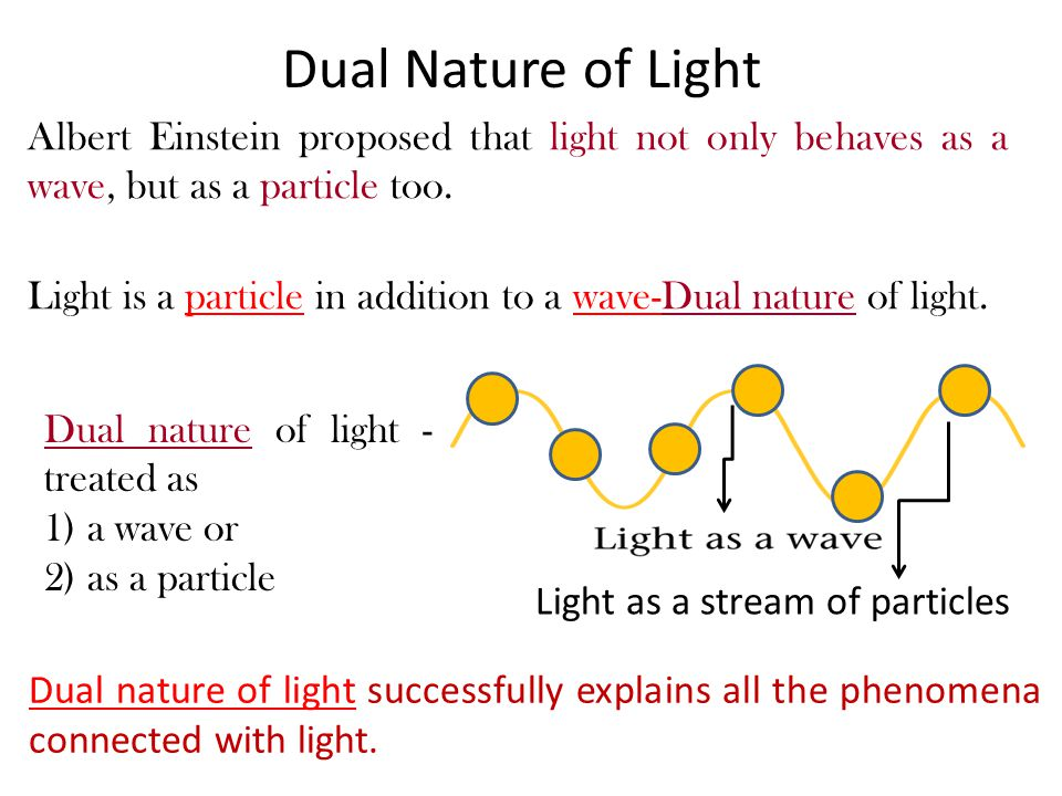 Albert Einstein proposed that light not only behaves as a wave, but as a particle too.