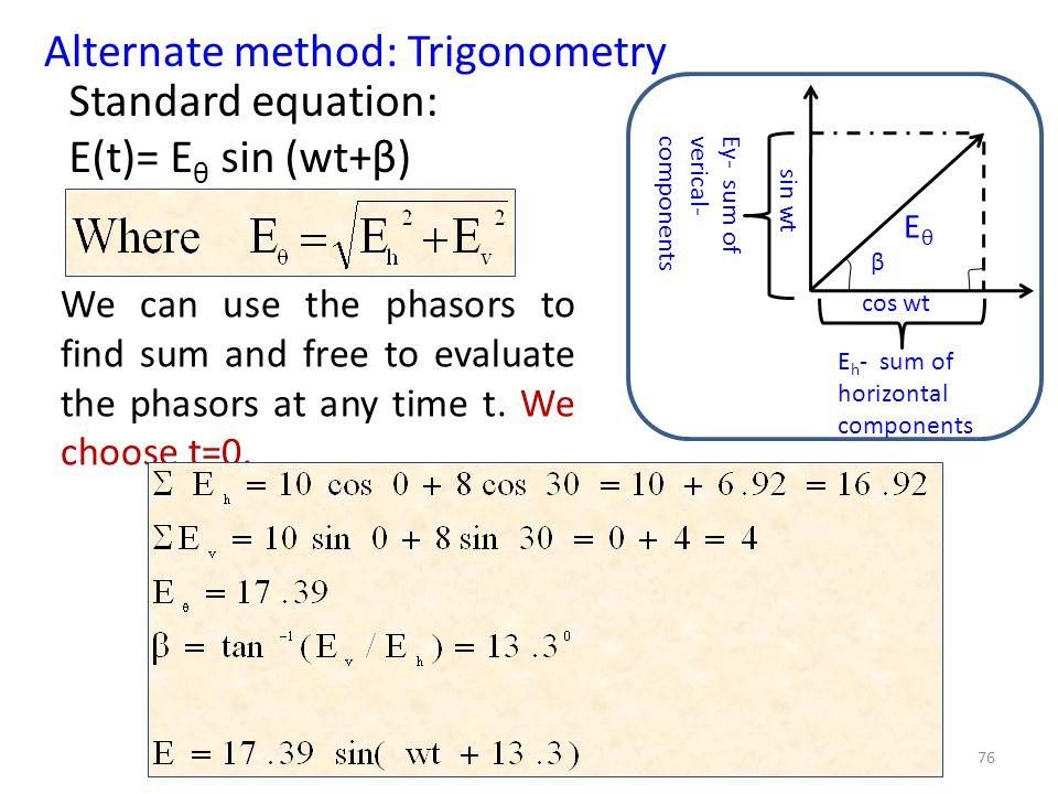 75 To find E θ : Substitute E 01 =10, E 02 =8, & φ=30 0 E θ =17.39 β= 13.3 0 The resultant electric field E= 17.39 sin (wt+13.3) (a) Phasors β E 01 E