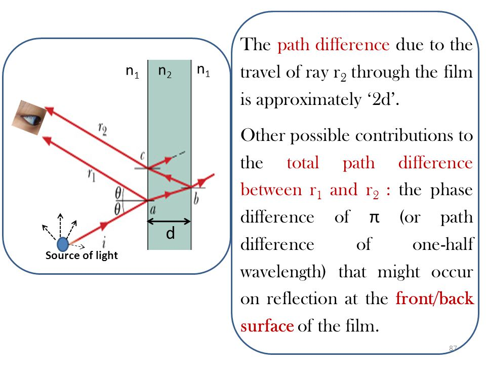 To obtain Equations for thin film Interference, let us simplify by assuming near - normal incidence θ i =0. The r 2 travels a longer path (2d) than r
