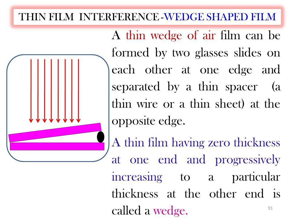 90 The total path difference: = 2d + λ n /2 =(m+1/2) λ n ……… (minima) where m=0,1,2,3….. The total path difference= 2d+ λ n /2=m λ n...(maxima) where