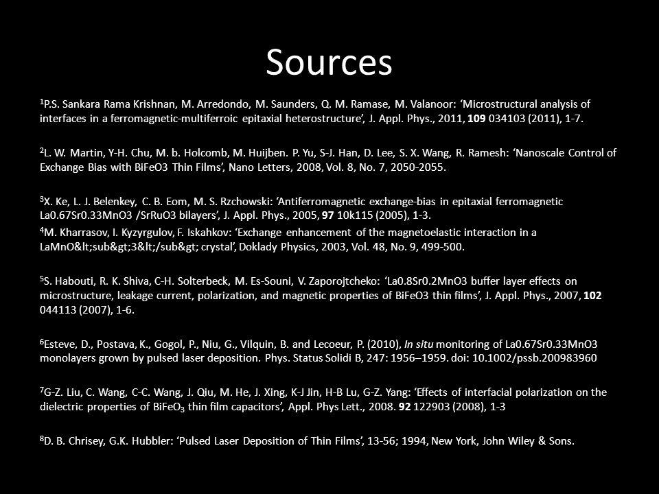 Sources 1 P.S.Sankara Rama Krishnan, M. Arredondo, M.