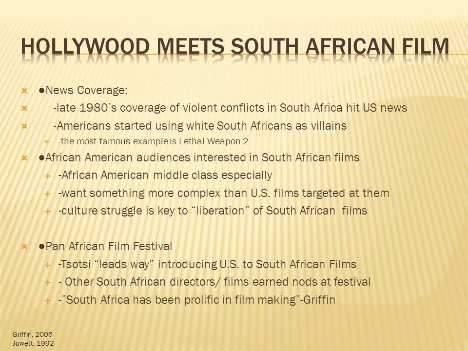 News Coverage: -late 1980s coverage of violent conflicts in South Africa hit US news -Americans started using white South Africans as villains -the most famous example is Lethal Weapon 2 African American audiences interested in South African films -African American middle class especially -want something more complex than U.S.