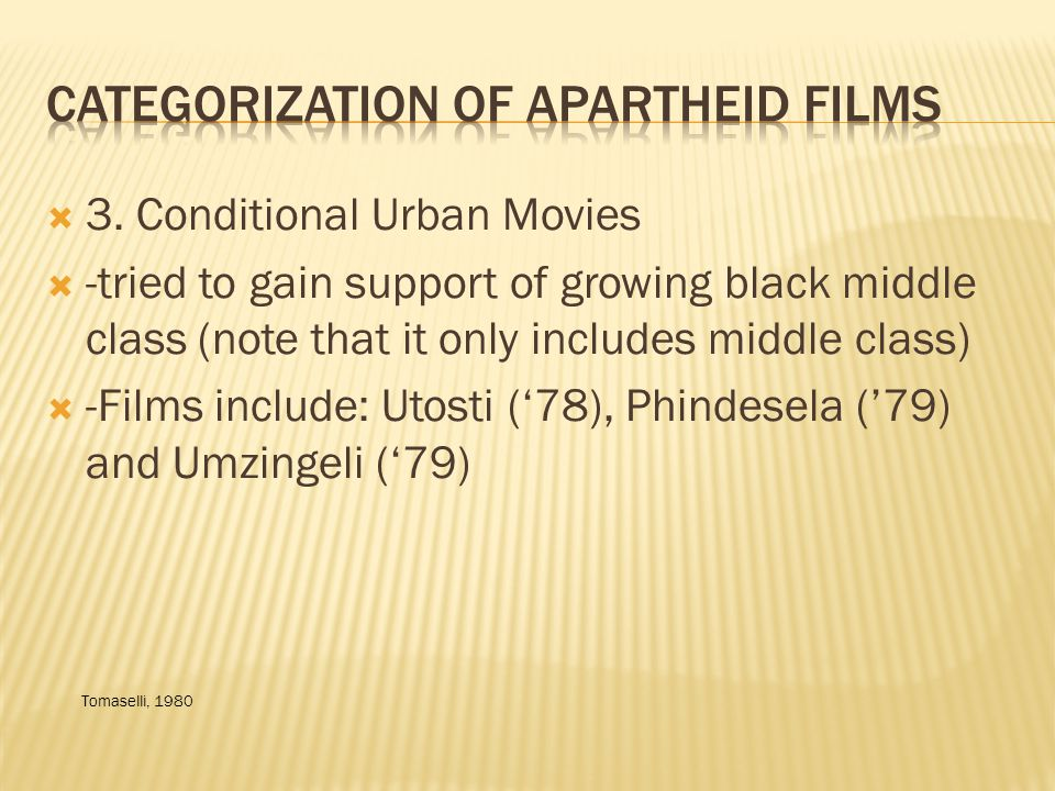Starting in 1980s and continuing through end of Apartheid: shift in focus on audience Industry recognized need for non-white cinema to boost industry -these films were shown in isolated cinemas -these films were juvenile and cheap Hay