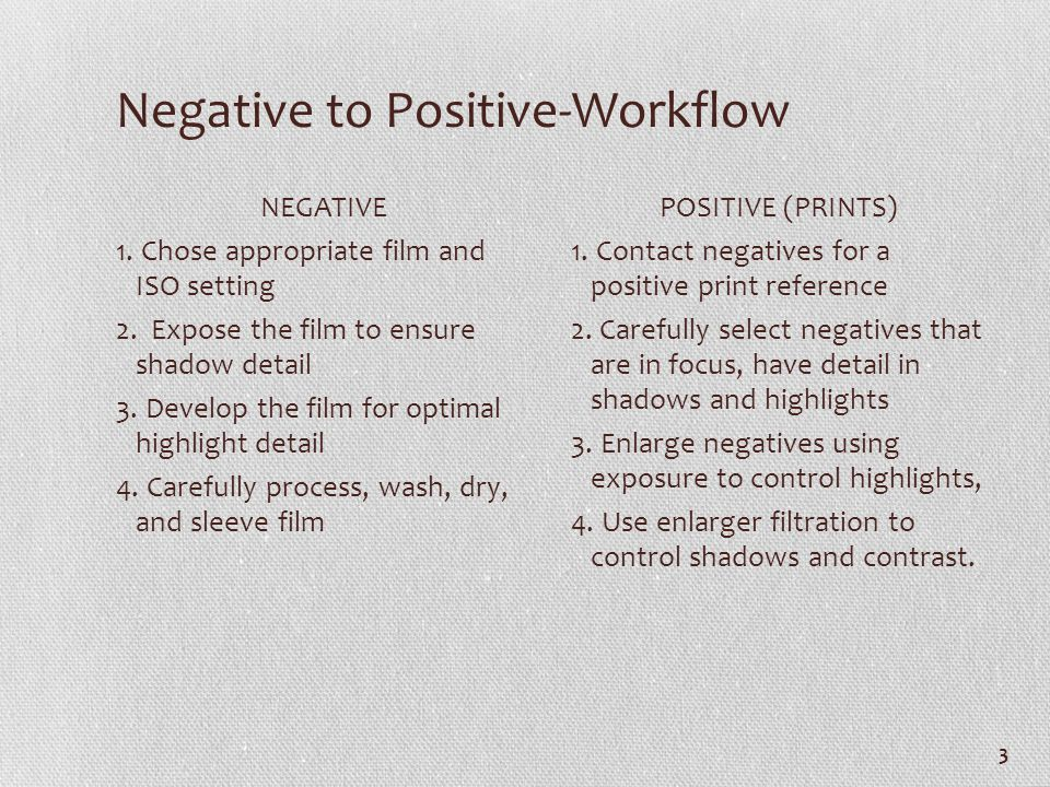 Negative to Positive-Workflow NEGATIVE 1. Chose appropriate film and ISO setting 2. Expose the film to ensure shadow detail 3. Develop the film for op