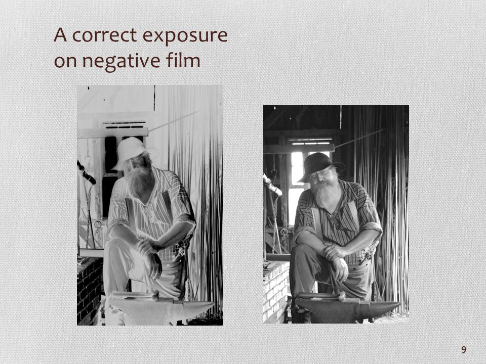 A correct exposure on negative film 9