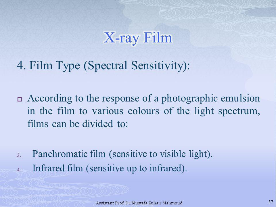 4. Film Type (Spectral Sensitivity): According to the response of a photographic emulsion in the film to various colours of the light spectrum, films