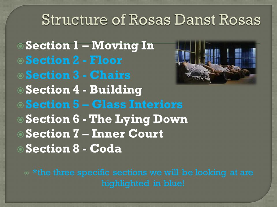 Section 1 – Moving In Section 2 - Floor Section 3 - Chairs Section 4 - Building Section 5 – Glass Interiors Section 6 - The Lying Down Section 7 – Inn