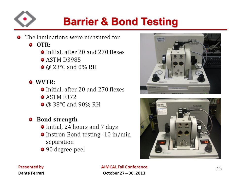 AIMCAL Fall Conference October 27 – 30, 2013 Presented by Dante Ferrari Automated or Manual operation Flat material mounted as a tube on each end Flex is both rotational (270 degrees) and compressive Gelbo-Flex Testing 16