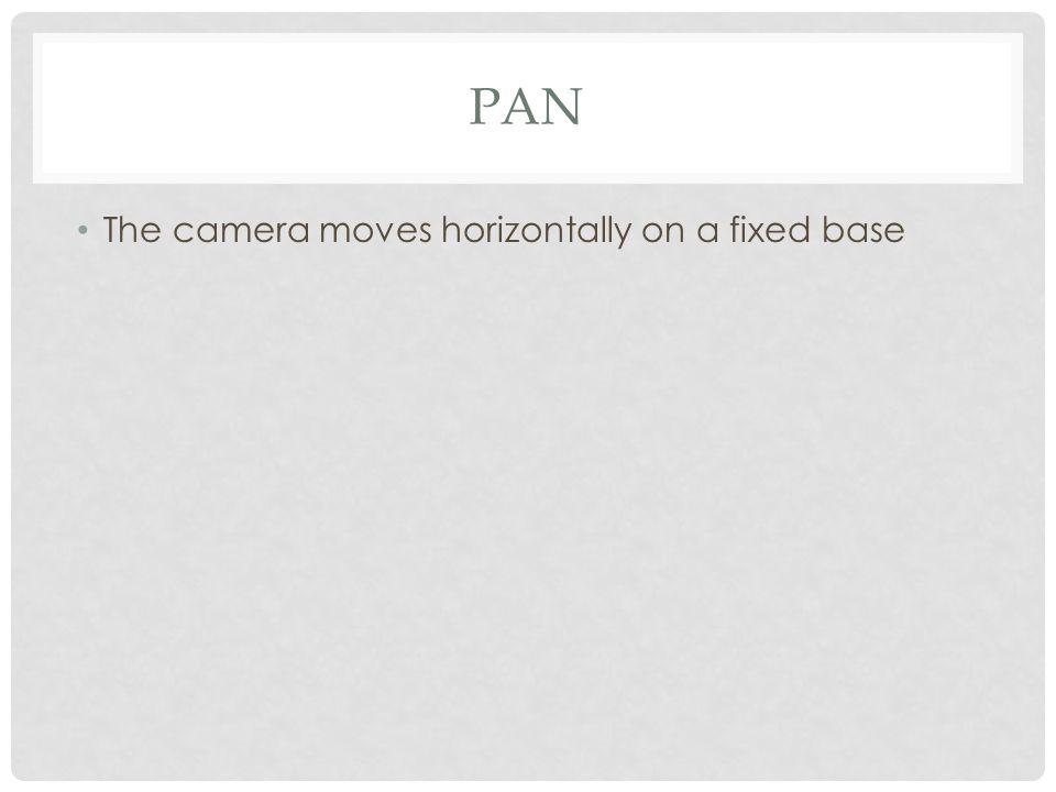 PAN The camera moves horizontally on a fixed base