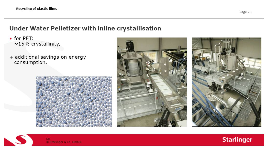© Starlinger & Co. GmbH. Under Water Pelletizer with inline crystallisation for PET: ~15% crystallinity, + additional savings on energy consumption. N