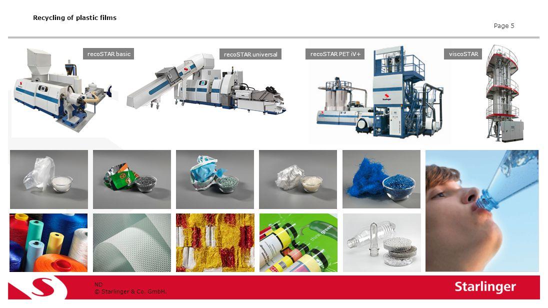 © Starlinger & Co. GmbH. ND Page 5 Recycling of plastic films recoSTAR basic recoSTAR PET iV+viscoSTAR recoSTAR universal