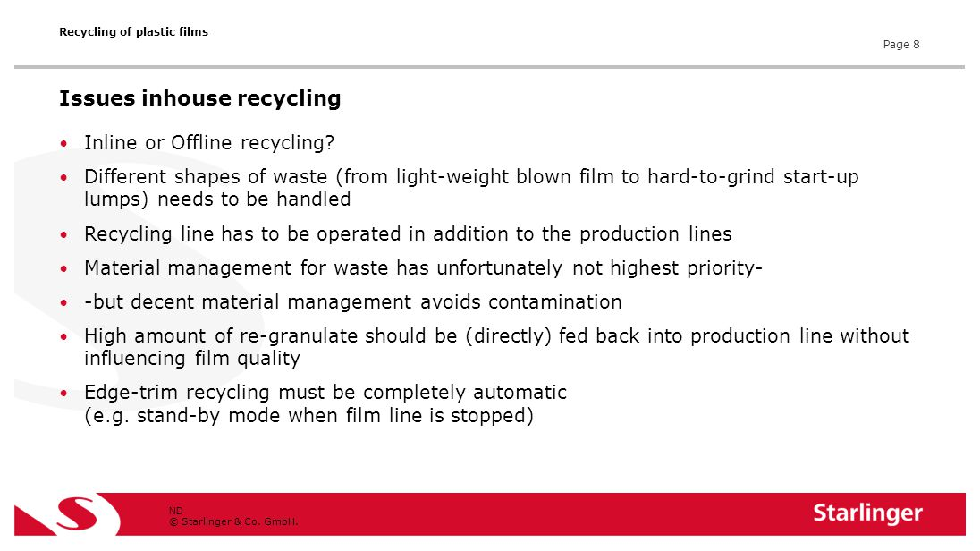 © Starlinger & Co. GmbH. Inline or Offline recycling? Different shapes of waste (from light-weight blown film to hard-to-grind start-up lumps) needs t