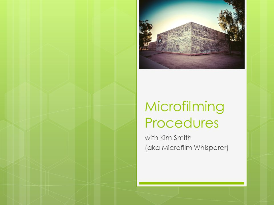 Microfilm – Loading a film 2 Records Management Center12