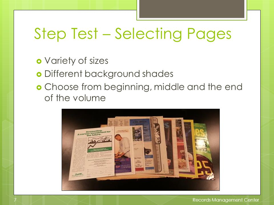 Microfilm – Step Test The processor reviews the step test and gives the camera operator the best light density settings for each image.