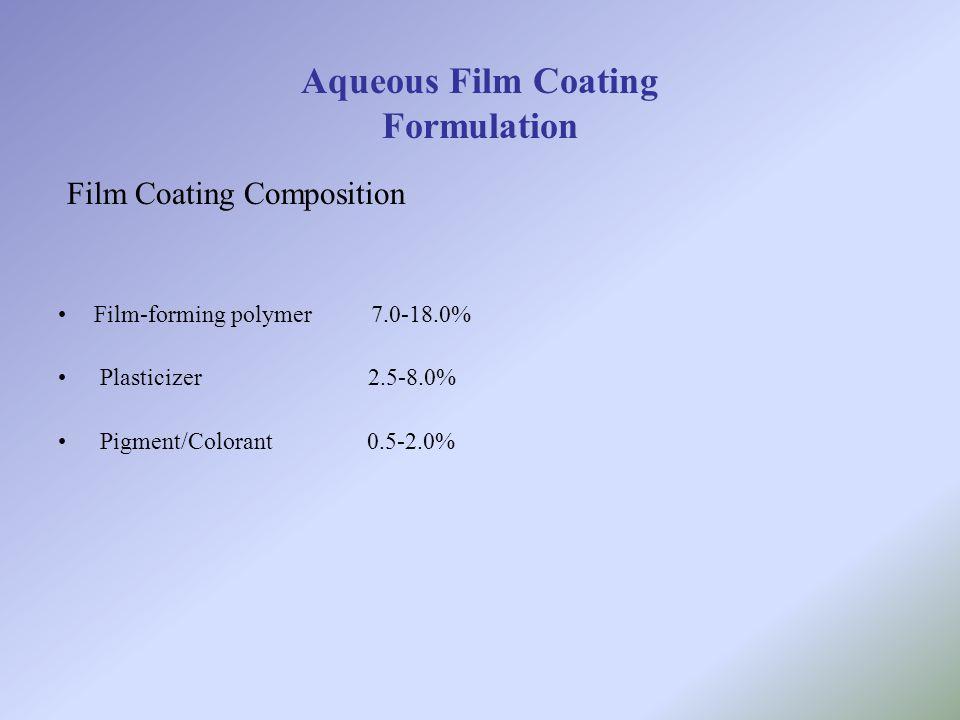 Aqueous Film Coating Formulation Film Coating Composition Film-forming polymer 7.0-18.0% Plasticizer 2.5-8.0% Pigment/Colorant 0.5-2.0%