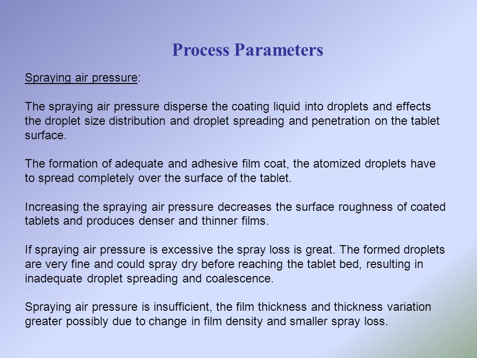 Process Parameters Spraying air pressure: The spraying air pressure disperse the coating liquid into droplets and effects the droplet size distributio