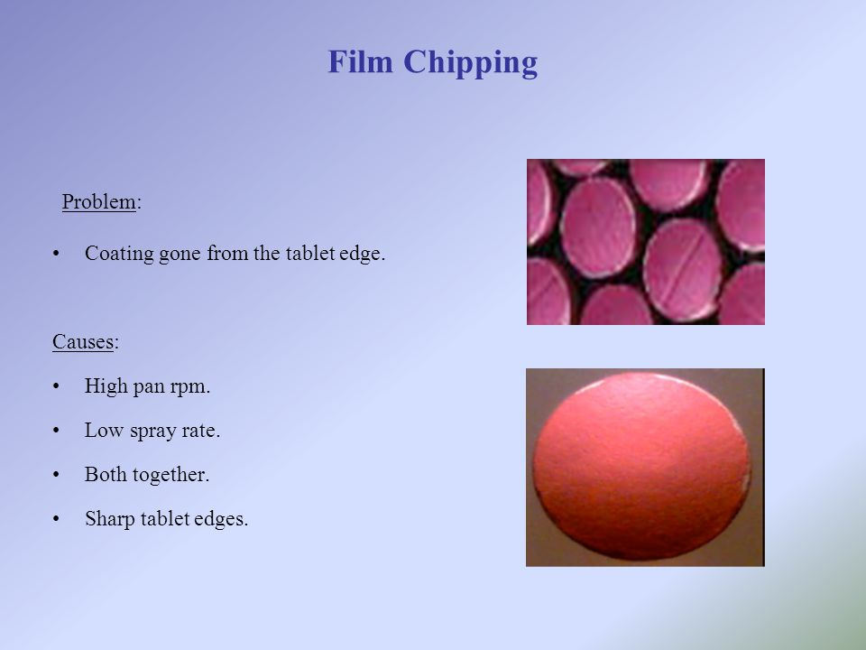 Film Chipping Problem: Coating gone from the tablet edge. Causes: High pan rpm. Low spray rate. Both together. Sharp tablet edges.