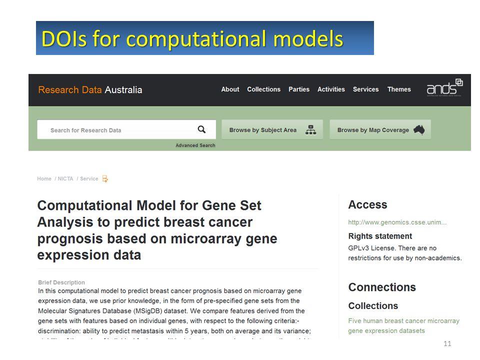 11 DOIs for computational models