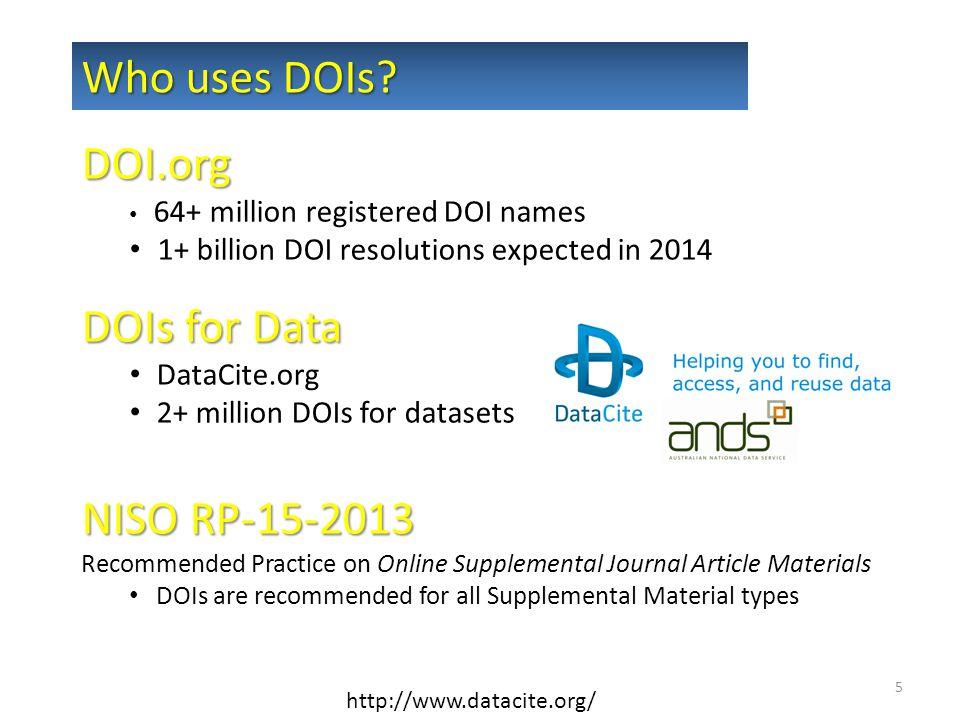 DOI.org 64+ million registered DOI names 1+ billion DOI resolutions expected in 2014 DOIs for Data DataCite.org 2+ million DOIs for datasets NISO RP-1
