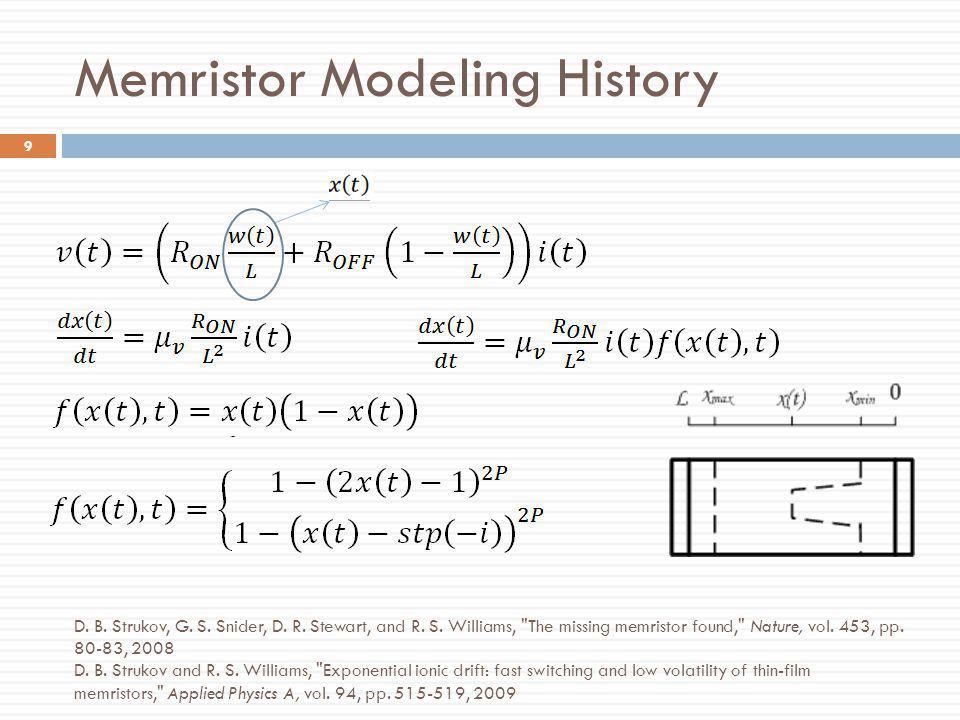 Memristor Modeling History 9 D. B. Strukov, G. S. Snider, D. R. Stewart, and R. S. Williams,