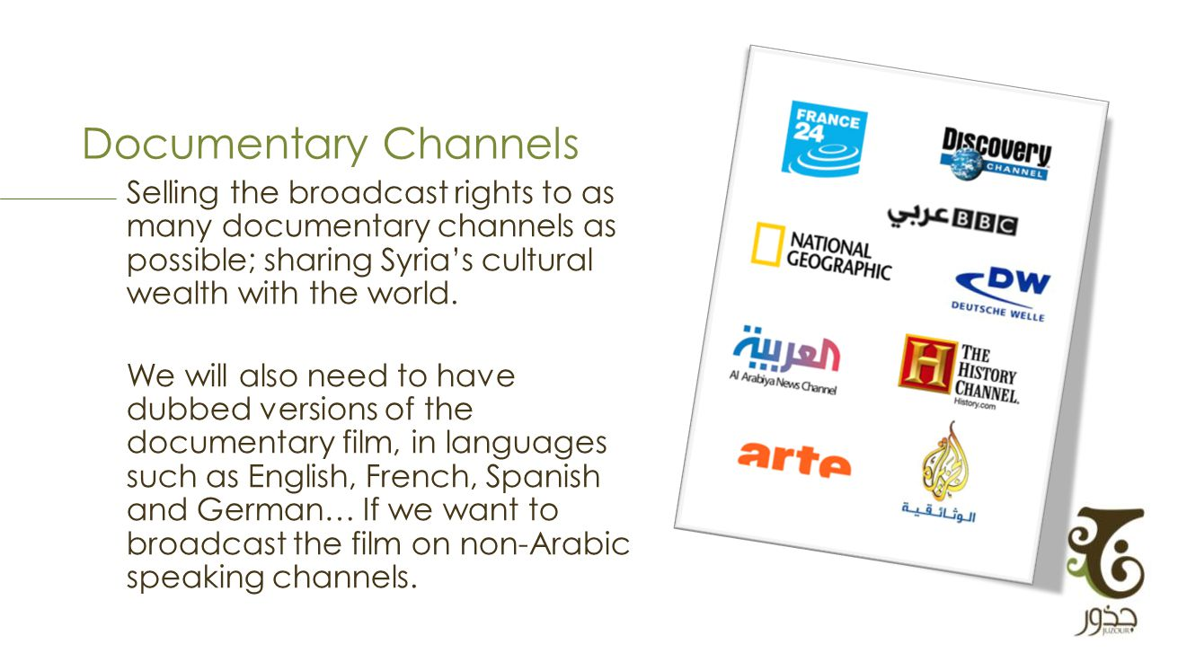 Documentary Channels Selling the broadcast rights to as many documentary channels as possible; sharing Syrias cultural wealth with the world.