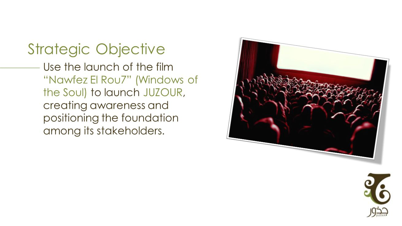 Strategic Objective Use the launch of the film Nawfez El Rou7 (Windows of the Soul) to launch JUZOUR, creating awareness and positioning the foundation among its stakeholders.