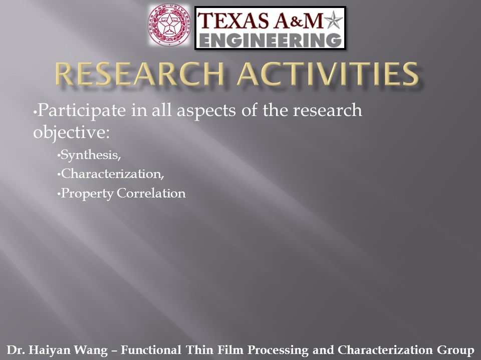 Participate in all aspects of the research objective: Synthesis, Characterization, Property Correlation Dr. Haiyan Wang – Functional Thin Film Process