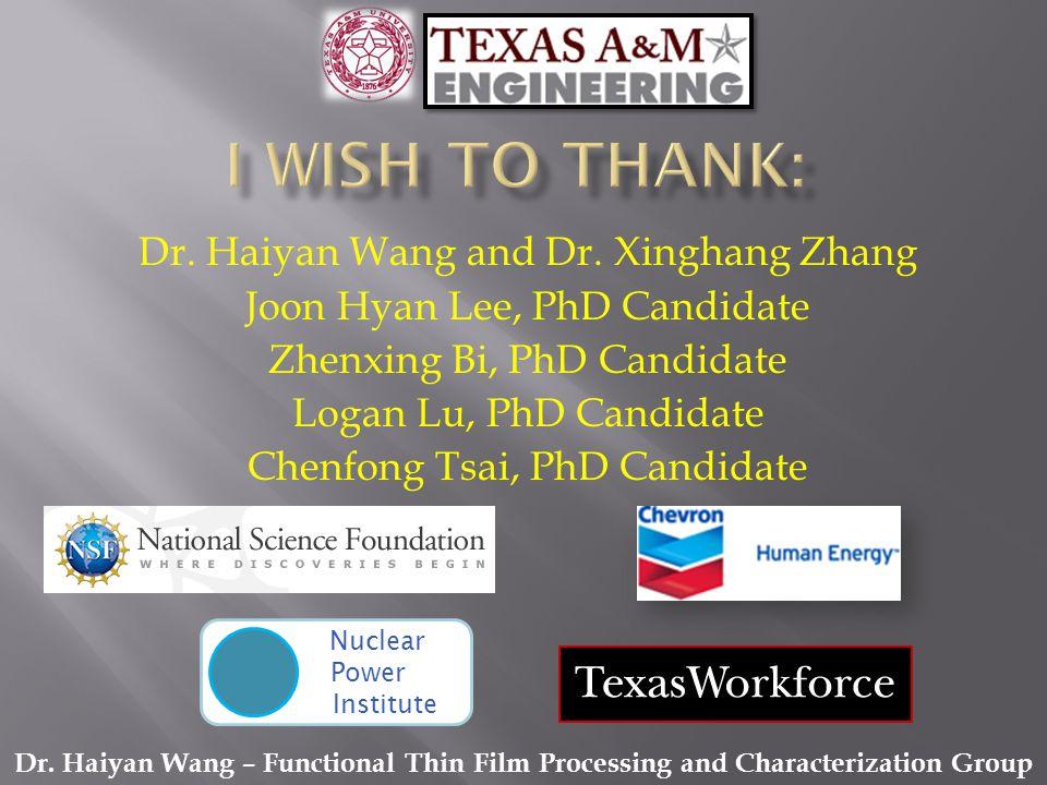 Dr. Haiyan Wang and Dr.