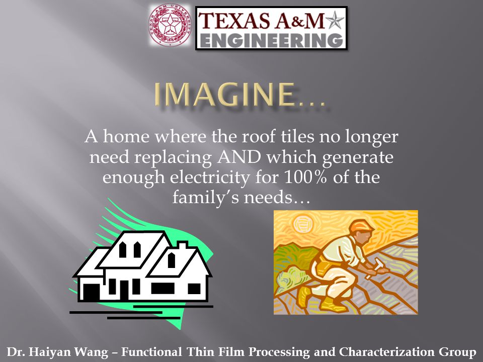 A home where the roof tiles no longer need replacing AND which generate enough electricity for 100% of the familys needs… Dr. Haiyan Wang – Functional