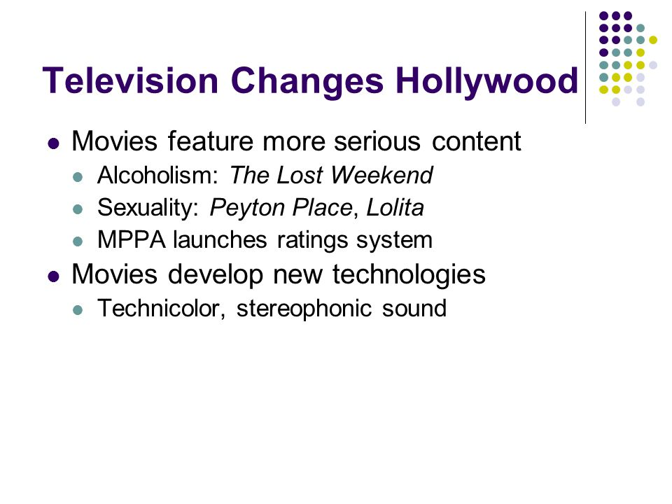 Television Changes Hollywood Movies feature more serious content Alcoholism: The Lost Weekend Sexuality: Peyton Place, Lolita MPPA launches ratings sy