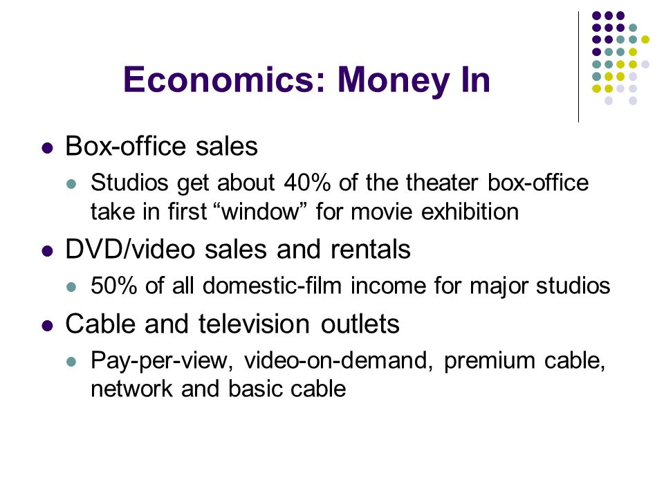 Economics: Money In Box-office sales Studios get about 40% of the theater box-office take in first window for movie exhibition DVD/video sales and ren