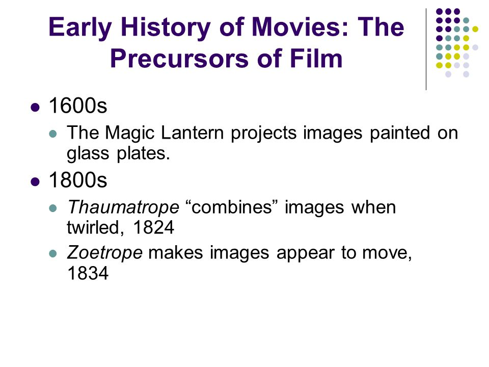 Early History of Movies: Development Stage Muybridge projects photographic images on wall for public viewing, 1880 Eastman develops roll film, 1884 Le Prince invents first motion-picture camera, 1888 Creates first motion picture, Roundhay Garden Scene Goodwin creates celluloid, 1889