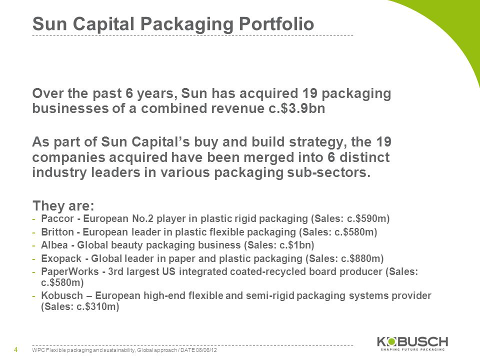WPC Flexible packaging and sustainability, Global approach / DATE 06/06/12 4 Sun Capital Packaging Portfolio Over the past 6 years, Sun has acquired 19 packaging businesses of a combined revenue c.$3.9bn As part of Sun Capitals buy and build strategy, the 19 companies acquired have been merged into 6 distinct industry leaders in various packaging sub-sectors.