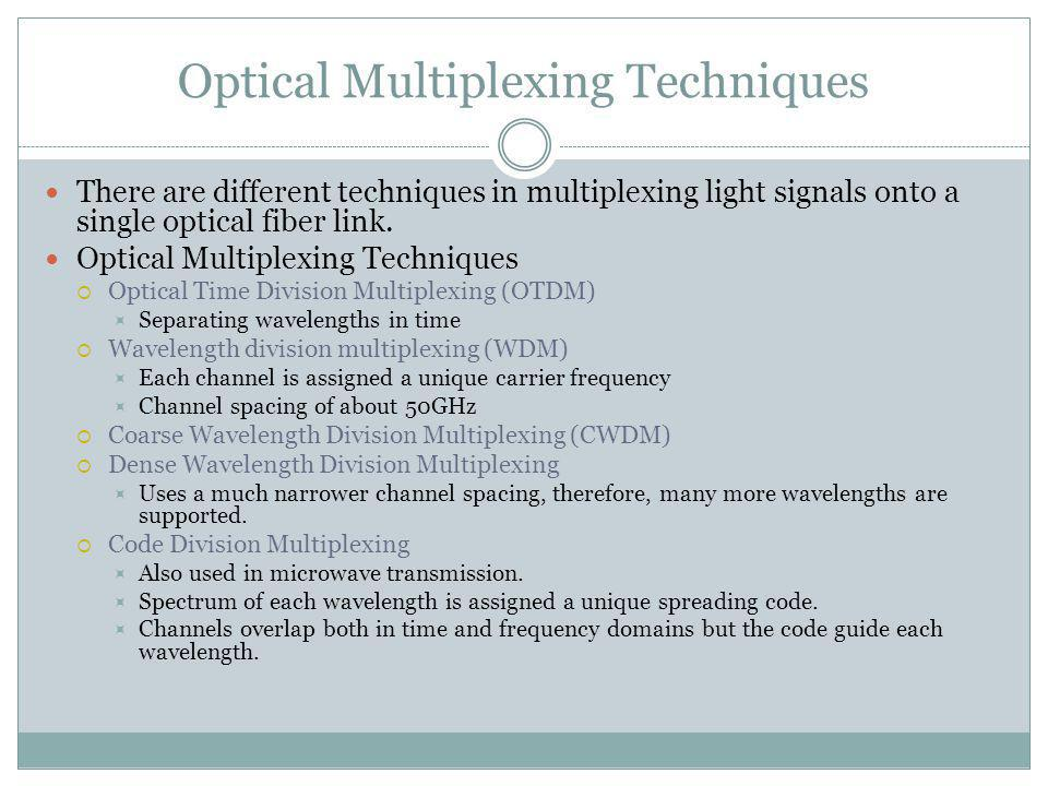 Optical Multiplexing Techniques There are different techniques in multiplexing light signals onto a single optical fiber link. Optical Multiplexing Te