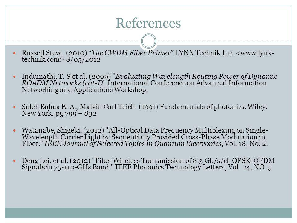 References Russell Steve. (2010) The CWDM Fiber Primer LYNX Technik Inc. 8/05/2012 Indumathi. T. S et al. (2009)