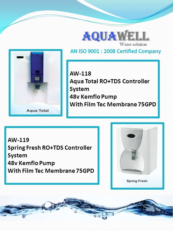 AW-118 Aqua Total RO+TDS Controller System 48v Kemflo Pump With Film Tec Membrane 75GPD AW-119 Spring Fresh RO+TDS Controller System 48v Kemflo Pump W