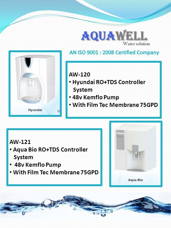 AW-120 Hyundai RO+TDS Controller System 48v Kemflo Pump With Film Tec Membrane 75GPD AW-121 Aqua Bio RO+TDS Controller System 48v Kemflo Pump With Fil