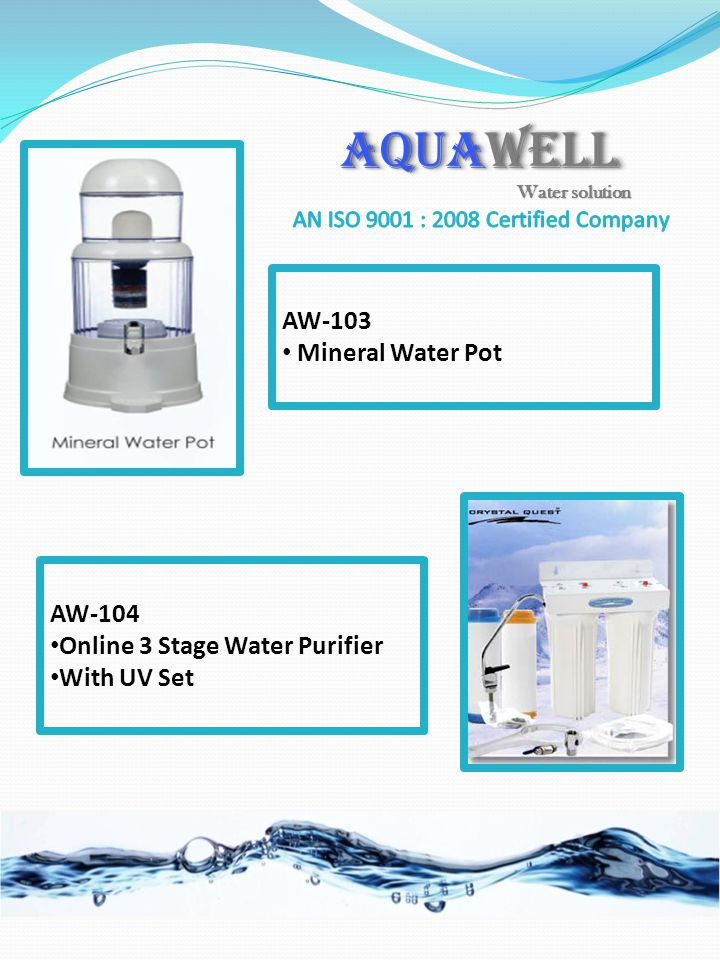 AW-104 Online 3 Stage Water Purifier With UV Set AW-103 Mineral Water Pot AQUAWELL Water solution