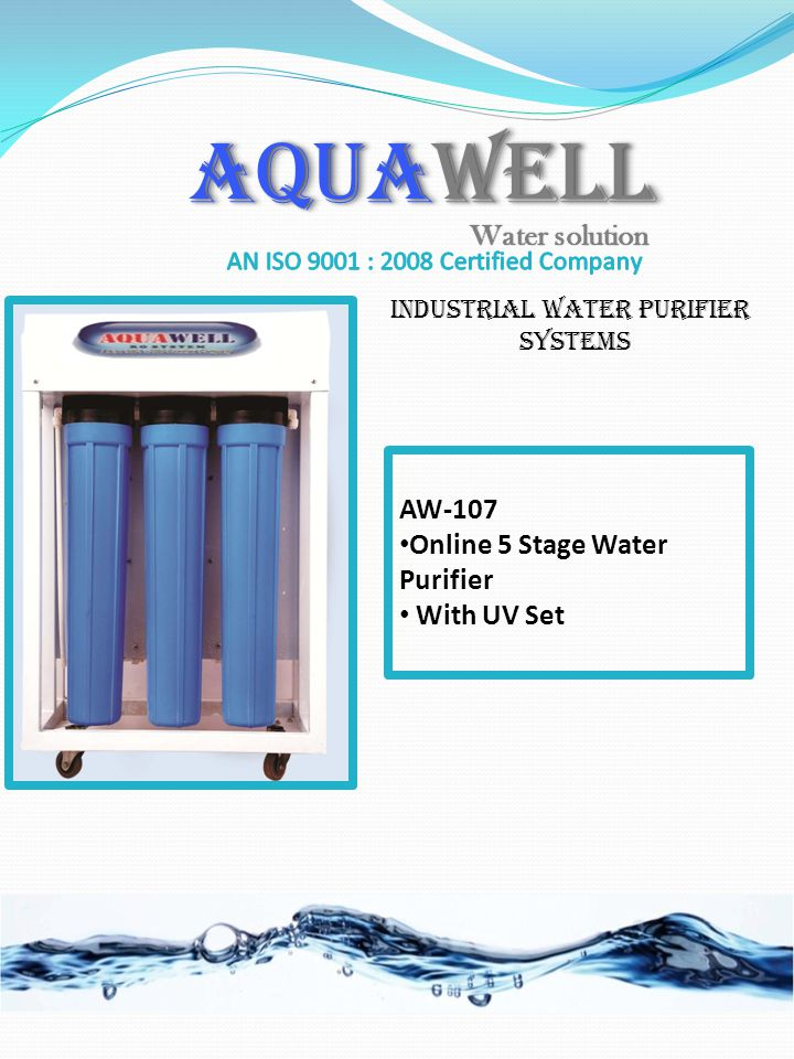 AW-107 Online 5 Stage Water Purifier With UV Set AQUAWELL Industrial Water purifier Systems Water solution