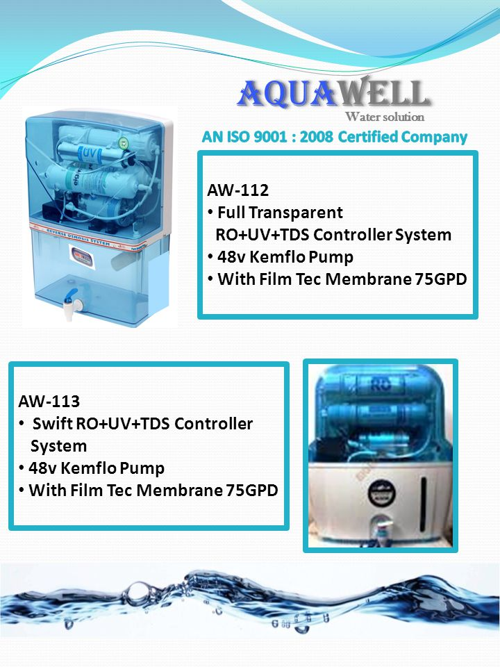 AQUAWELL AW-112 Full Transparent RO+UV+TDS Controller System 48v Kemflo Pump With Film Tec Membrane 75GPD AW-113 Swift RO+UV+TDS Controller System 48v