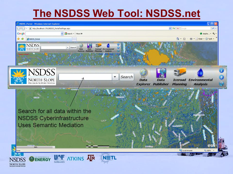 The NSDSS Web Tool: NSDSS.net Search for all data within the NSDSS Cyberinfrastructure Uses Semantic Mediation